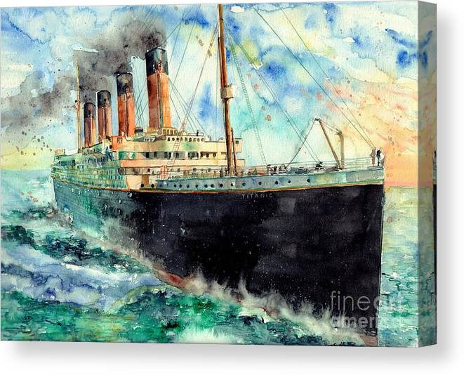 Rms Titanic Canvas Print featuring the painting RMS Titanic White Star Line Ship by Suzann Sines