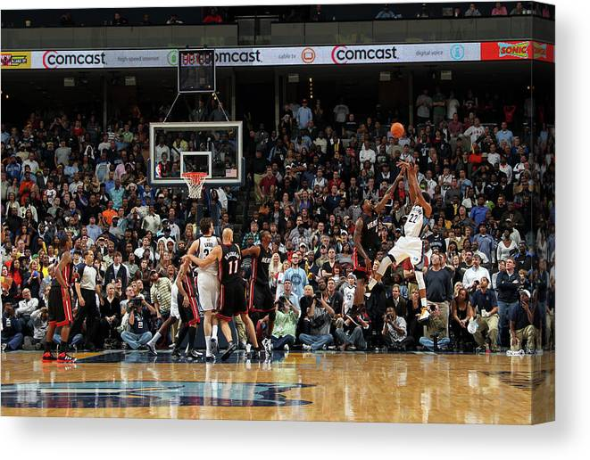 Nba Pro Basketball Canvas Print featuring the photograph Rudy Gay and Lebron James by Joe Murphy