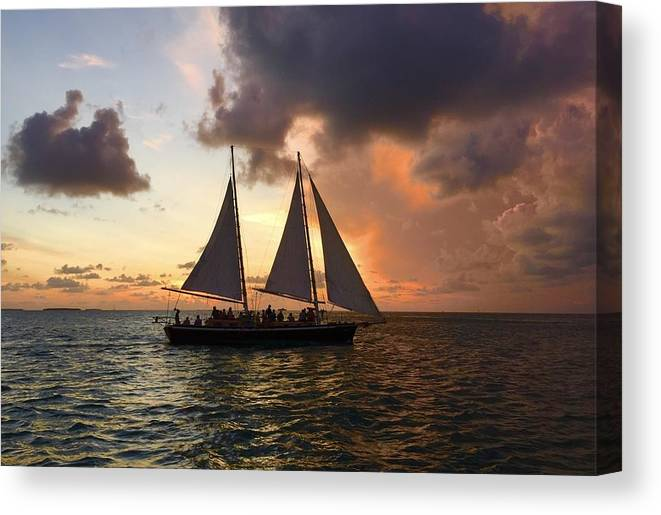 Orange Color Canvas Print featuring the photograph Sailboat Moving On River Against Cloudy Sky by Gerard Corbett / EyeEm