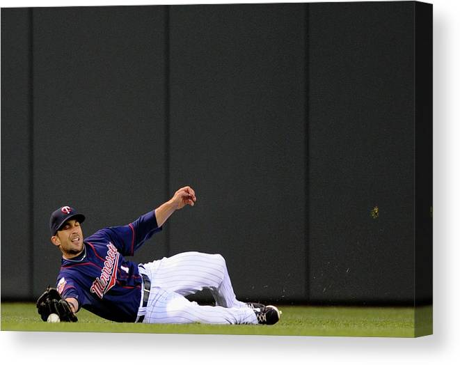 American League Baseball Canvas Print featuring the photograph Sam Fuld and Alcides Escobar by Hannah Foslien
