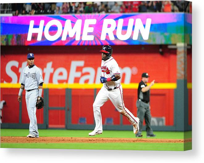 Atlanta Canvas Print featuring the photograph San Diego Padres v Atlanta Braves by Scott Cunningham
