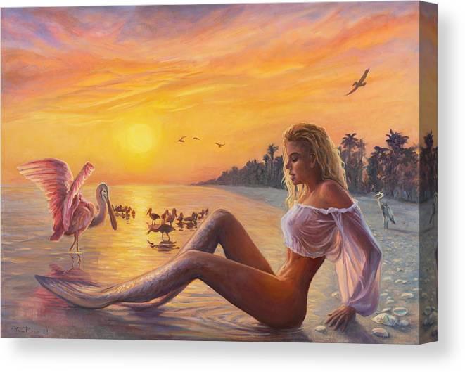 Mermaid Canvas Print featuring the painting Sanibel Mermaid by Marco Busoni