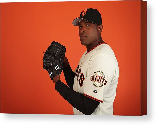 Media Day Canvas Print featuring the photograph Santiago Casilla by Christian Petersen