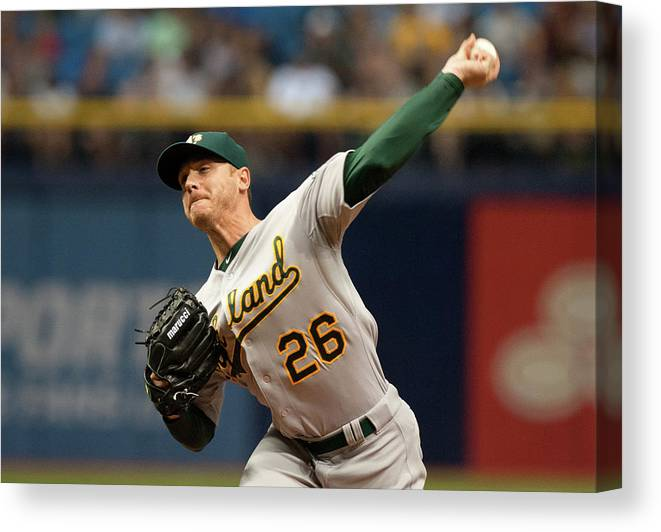 Three Quarter Length Canvas Print featuring the photograph Scott Kazmir by Cliff Mcbride