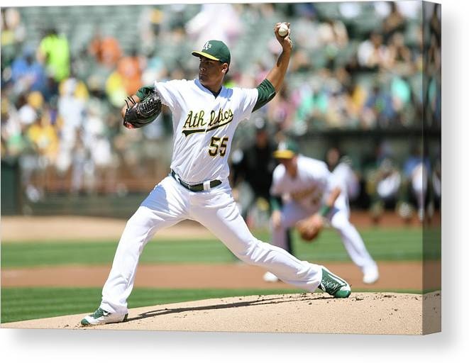 American League Baseball Canvas Print featuring the photograph Sean Manaea by Thearon W. Henderson