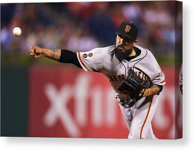 Three Quarter Length Canvas Print featuring the photograph Sergio Romo by Drew Hallowell