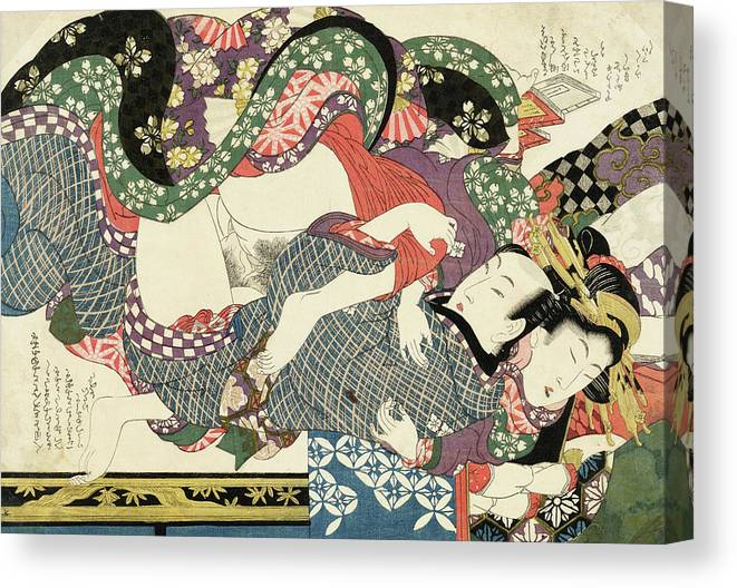 Shunga Canvas Print featuring the painting Shunga, Daughter of a Great House by Kikugawa Eizan