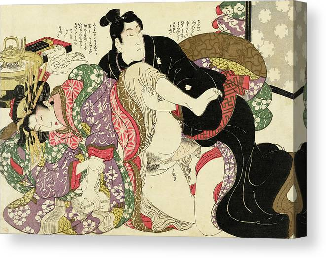 Shunga Canvas Print featuring the painting Shunga, The Daughter of a Great House by Kikugawa Eizan