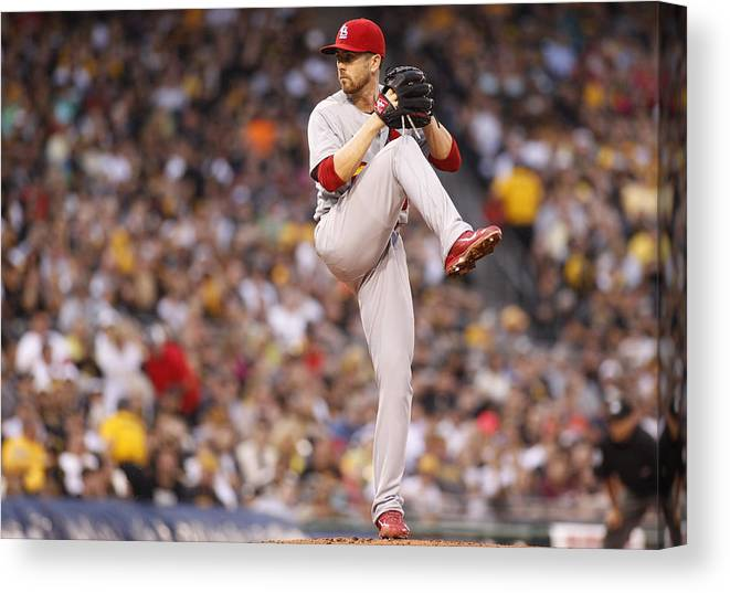 American League Baseball Canvas Print featuring the photograph St Louis Cardinals v Pittsburgh Pirates by Justin K. Aller