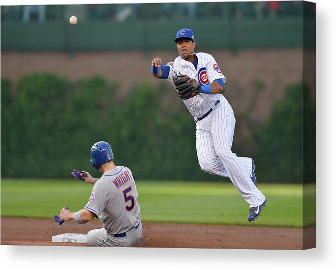 Double Play Canvas Print featuring the photograph Starlin Castro, Curtis Granderson, and David Wright by Brian Kersey