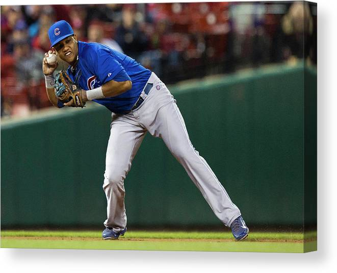 2nd Base Canvas Print featuring the photograph Starlin Castro by David Welker
