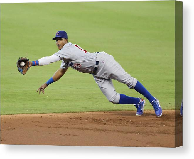 American League Baseball Canvas Print featuring the photograph Starlin Castro by Marc Serota