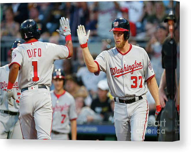 Three Quarter Length Canvas Print featuring the photograph Stephen Strasburg and Wilmer Difo by Justin K. Aller