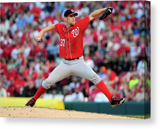 Stephen Strasburg Canvas Print featuring the photograph Stephen Strasburg by Jeff Curry