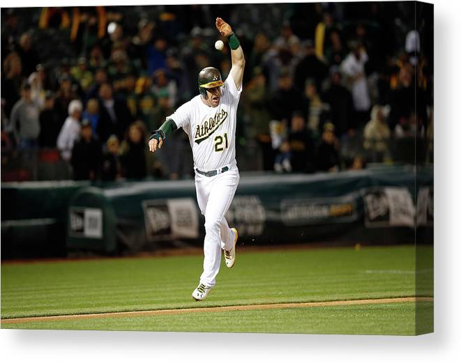 Ninth Inning Canvas Print featuring the photograph Stephen Vogt by Ezra Shaw