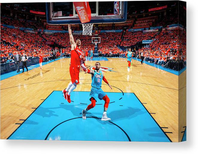Playoffs Canvas Print featuring the photograph Steven Adams and Enes Kanter by Zach Beeker