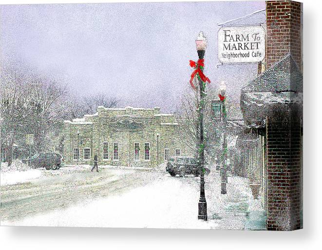 Snow Scene Canvas Print featuring the photograph Strang Car Barn in Winter by Steve Karol