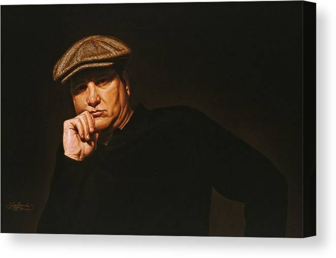 Seated Male Figure Canvas Print featuring the painting The Irishman by Gary Hernandez