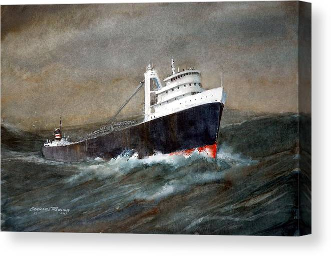 Ships Canvas Print featuring the painting The John J Boland by Charles Rowland