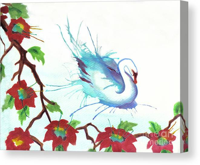 Swan Canvas Print featuring the painting The Messanger by Angelique Bowman