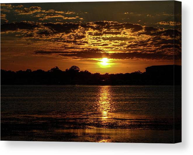 Sunset Canvas Print featuring the photograph The Sunset over the Lake by Daniel Cornell
