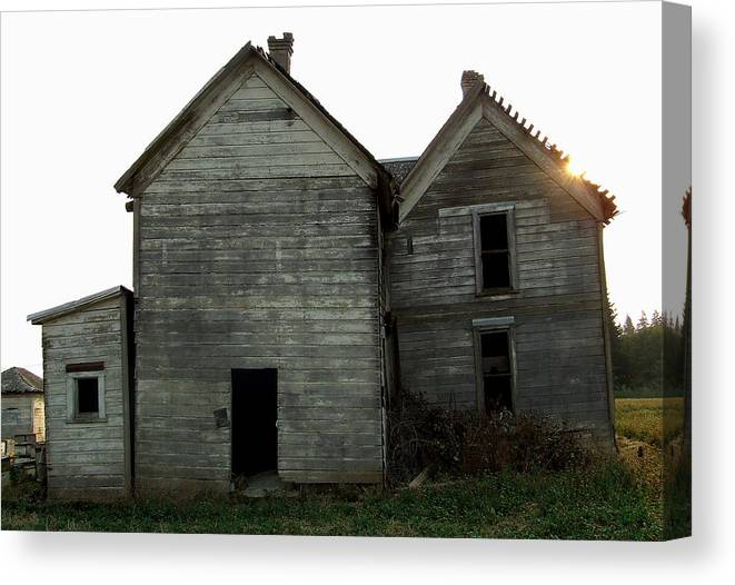 Derelict Canvas Print featuring the photograph There Was A Crooked House by Everett Bowers