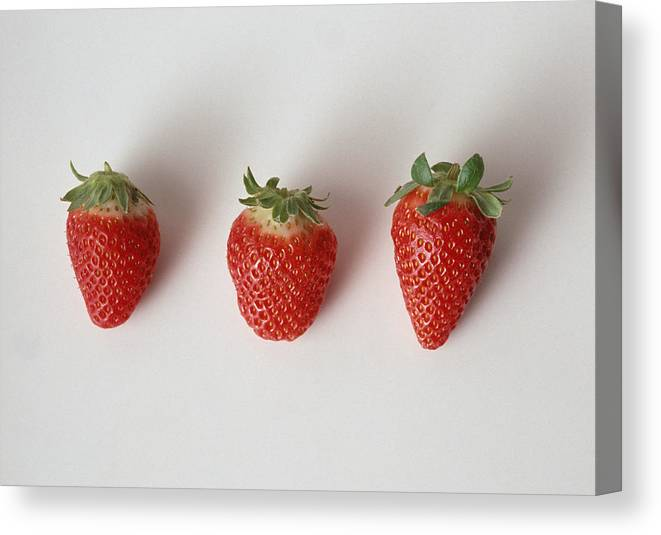 White Background Canvas Print featuring the photograph Three strawberries in a row, close-up, white background by Isabelle Rozenbaum & Frederic Cirou