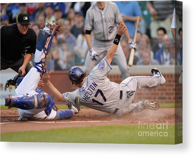 Second Inning Canvas Print featuring the photograph Todd Helton, Josh Rutledge, and Welington Castillo by Brian Kersey