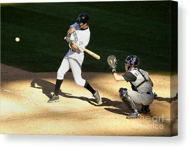 People Canvas Print featuring the photograph Todd Helton, Rod Barajas, and John Patterson by Brian Bahr