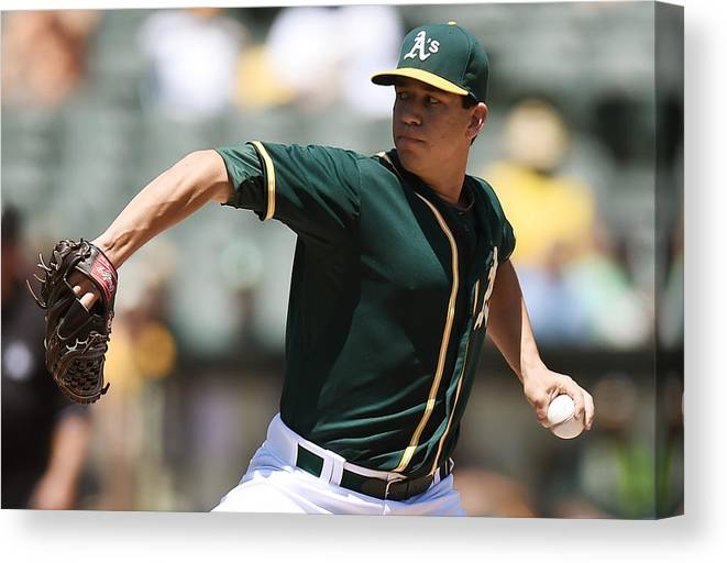American League Baseball Canvas Print featuring the photograph Tommy Milone by Thearon W. Henderson