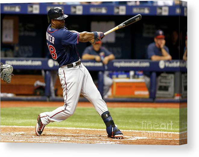 People Canvas Print featuring the photograph Torii Hunter by Brian Blanco