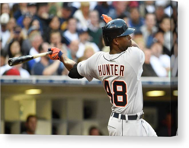 American League Baseball Canvas Print featuring the photograph Torii Hunter by Denis Poroy