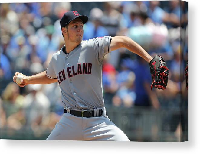 American League Baseball Canvas Print featuring the photograph Trevor Bauer by Ed Zurga