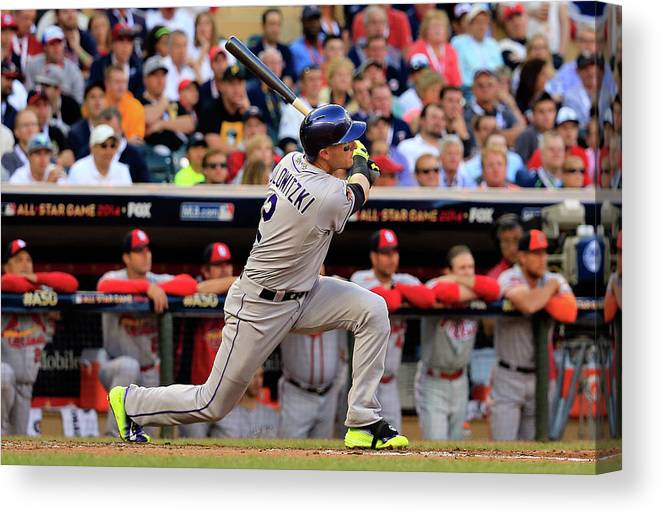 American League Baseball Canvas Print featuring the photograph Troy Tulowitzki by Rob Carr