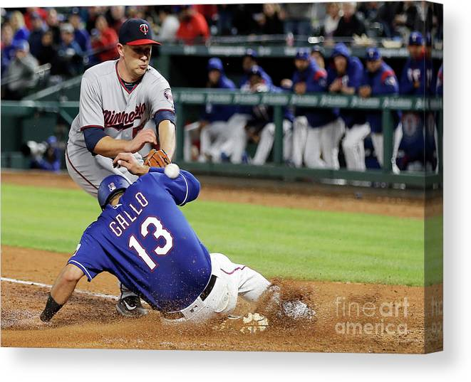 Baseball Catcher Canvas Print featuring the photograph Tyler Duffey, Chris Gimenez, and Joey Gallo by Brandon Wade