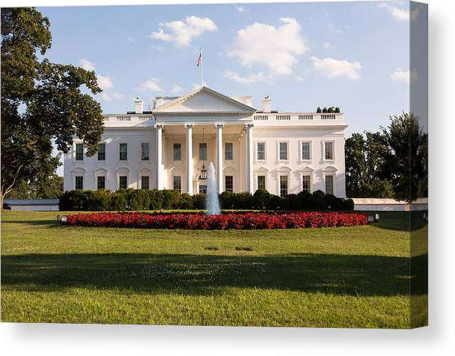 Architectural Column Canvas Print featuring the photograph White House Washington DC by BackyardProduction