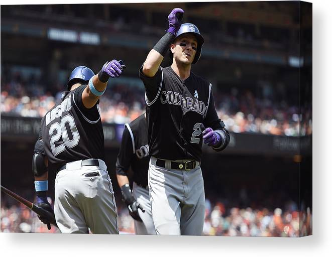 San Francisco Canvas Print featuring the photograph Wilin Rosario and Troy Tulowitzki by Thearon W. Henderson