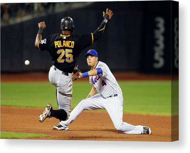 Double Play Canvas Print featuring the photograph Wilmer Flores and Gregory Polanco by Jim Mcisaac