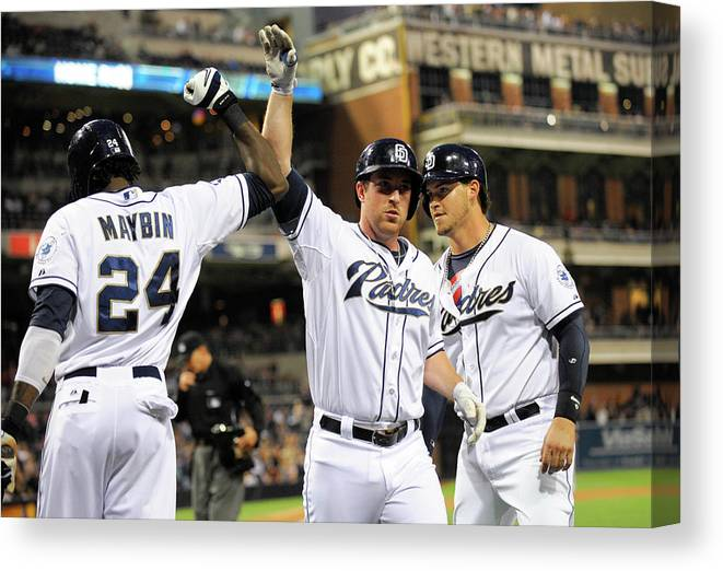 Second Inning Canvas Print featuring the photograph Yasmani Grandal, Cameron Maybin, and Jedd Gyorko by Denis Poroy
