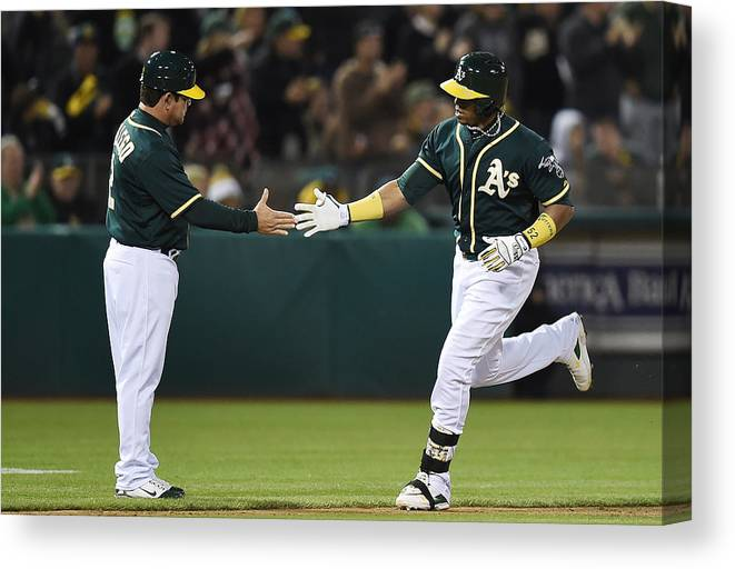 Yoenis Cespedes Canvas Print featuring the photograph Yoenis Cespedes and Mike Gallego by Thearon W. Henderson