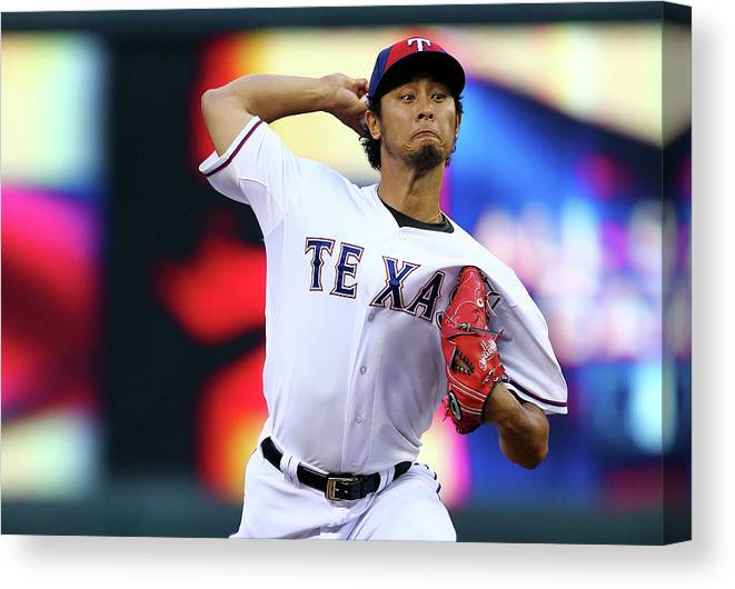 American League Baseball Canvas Print featuring the photograph Yu Darvish by Elsa