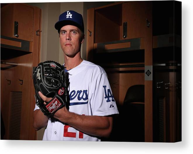 Media Day Canvas Print featuring the photograph Zack Greinke by Christian Petersen