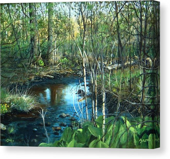 Landscape Canvas Print featuring the painting Morning Surprise by William Brody