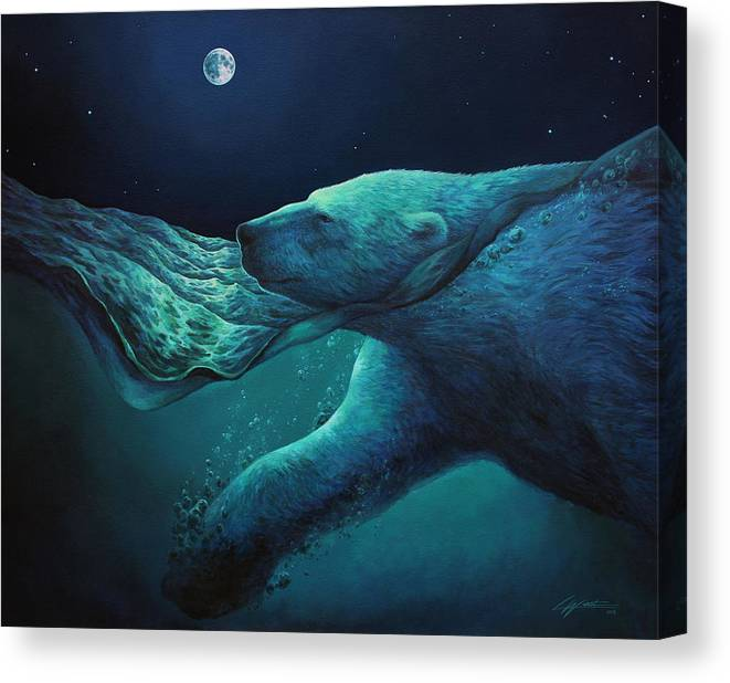 Arctic Canvas Print featuring the painting The Longest Night by Lucy West