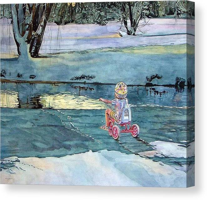 Children Canvas Print featuring the painting Twilight by Valerie Patterson