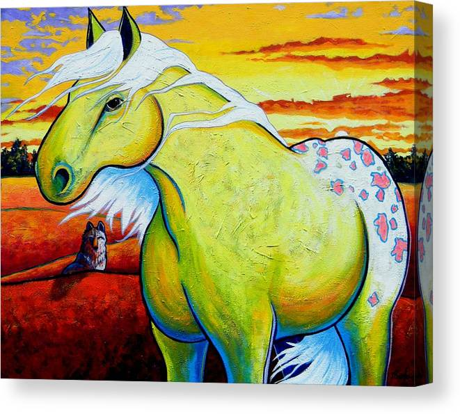 Wildlife Canvas Print featuring the painting Appaloosa Dawn by Joe Triano