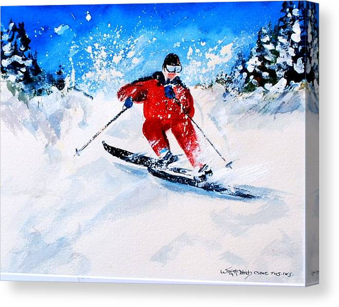 Skiing Snow Winter Sports Canvas Print featuring the painting Powder Run by Wilfred McOstrich