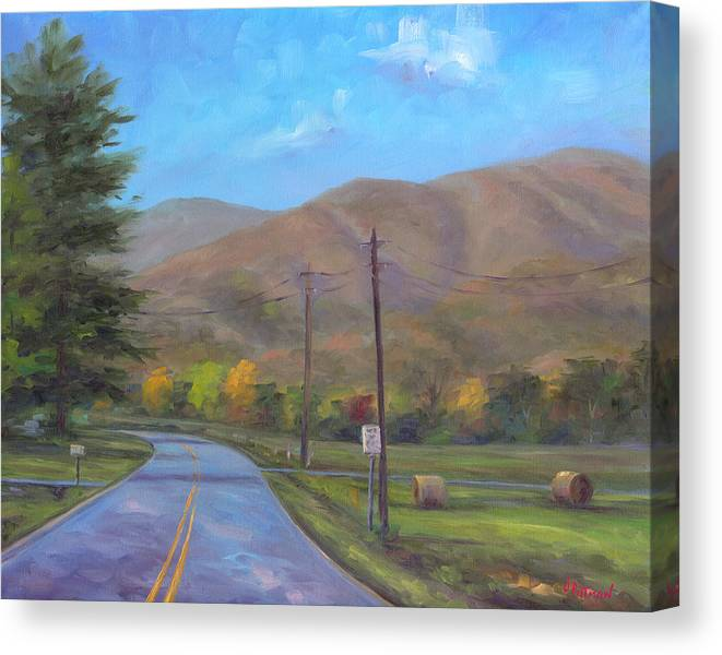 Cold Mountain Canvas Print featuring the painting Road to Cold Mountain by Jeff Pittman