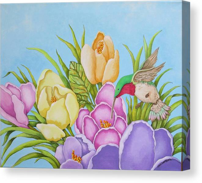 Flowers Canvas Print featuring the painting Spring Delight by Carol Sabo