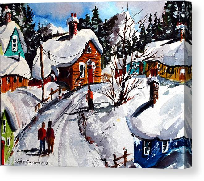 Snow Mountains Skiing Quebec Villages Canvas Print featuring the painting Le Village Gran Mere l'heiver by Wilfred McOstrich